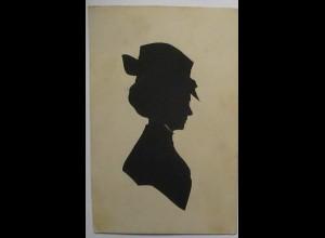 Original Scherenschnitt Frau mit Hut, ca. 1910 (34759)