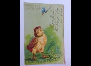 Ostern, Küken, Schmetterling, 1905, Prägekarte ♥ (44107)