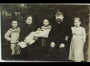 Soldat mit Familie, Kinder, Fotokarte 1907 (39459)