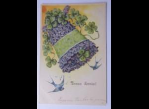 Neujahr, Glocke, Veilchen, Kleeblatt, Schwalben, 1906, Prägekarte ♥ (56433)
