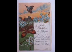 Pfingsten, Schmetterling, Blumen, Abendrot, 1904 ♥ (41770)