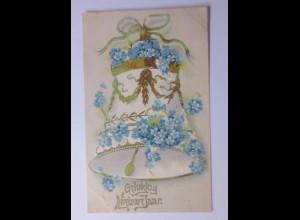 Neujahr, Glocke, Vergissmeinnicht, 1906, Prägekarte ♥ (56434)