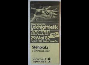 Fürth 1982, Eintrittskarte Leichtathletik Sportfest (66459)