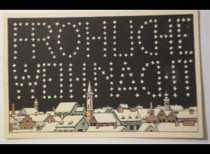 Künstlerkarte, Jugendstil, Weihnachten, Winterdorf, 1910, G. Marisch ♥ (26681)