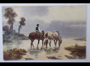 Pferde, Reiter, See, 1910 ♥ (28791)