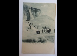 USA Ice Bridge Niagara Falls im Winter 1900, H.L. Woehler Buffalo ♥ (60869)