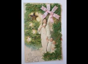 Weihnachten, Engel, Kinder, Weihnachtsbaum, 1900, Prägekarte ♥ (26633)