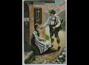 Berge Trachten Jäger, Grüss Gott saubers Diarndl, Zur Bier-Ausgabe 1903 (50350)