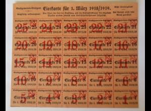 Lebensmittelkarten aus Stuttgart Eierkarte 1918-1919 ♥ (X2)