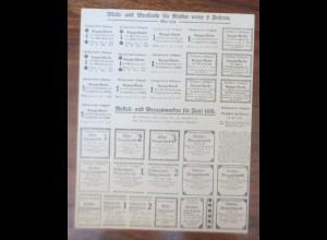 Lebensmittelkarten aus Stuttgart Bezugs-Karte Brot, Käse, Butter, 1919 ♥ (X10)