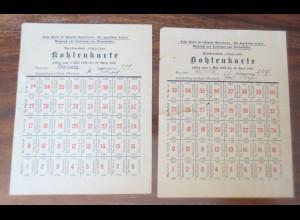Lebensmittelkarten aus Gaschwitz Leipzig, Brennstoffe, Kohle, 1922-1923 ♥ (X12)