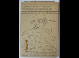 Berlin, Der Zwiebelfisch, Variete Abend mit Clown Pepino, Flyer ca. 1940 (9113)