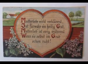 Muttertag, Spruch, Herz, Blumen, 1919 ♥ (48723)