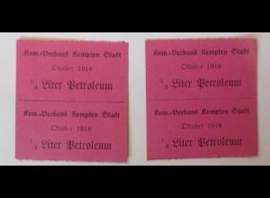 Lebensmittelkarten, Stadt Kempten Petroleum Oktober 1919 ♥ (65368)