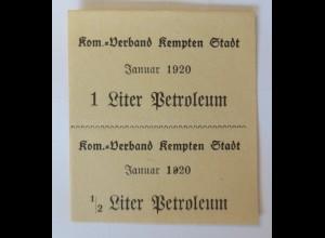 Lebensmittelkarten, Stadt Kempten Petroleum Oktober 1920 ♥ (65957)