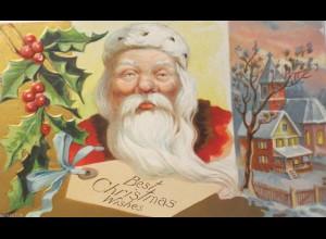 Weihnachten, Weihnachtsmann, Disteln, Kirche,1908, Prägekarte ♥ (11818)