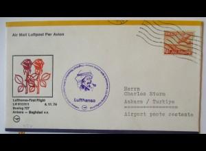 Lufthansa Erstflug Baghdad - Ankara Türkei 1974 (64660)