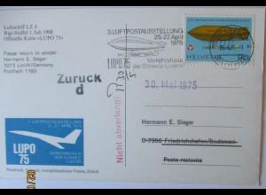 Schweiz Zeppelin Sonderkarte Lupo 75 (60409)