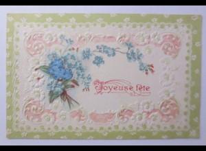 Neujahr, Blumen, Jugendstil, 1909, Prägekarte ♥ (56439)