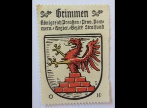 Reklamemarke Wappen aus Grimmen Königreich Preußen 1910 (17195)