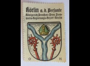 Reklamemarke, Wappen aus Körlin a.d. Persante Königreich-Preußen ♥ (17043)