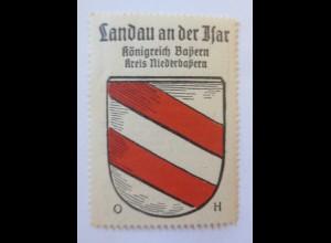 Reklamemarke-Kaffee Hag, Wappen von Landau Isar, Königreich Preußen 1910♥ (6827)