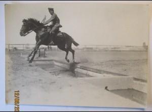 Soldat Pferd, Hindernisrennen Hürden, großes Photo 1917 Esch Ludwigslust (44731)