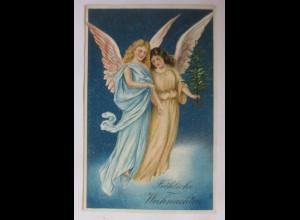 Weihnachten, Engel, Tanne, 1907, Prägekarte ♥ (25366)