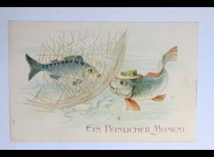 """""""Fische, Vermenschlicht, Ein Peinlicher Moment, Netz"""" 1908, Prägekarte ♥"""
