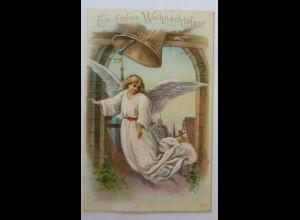 Weihnachten, Engel, Glocken, Kirche, 1909, Prägekarte ♥ (8972)