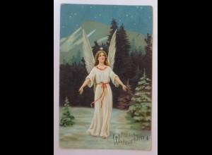 Weihnachten, Engel, Christkind, Sterne, 1909, Prägekarte ♥ (23058)