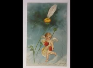 Engel, Amor, Er liebt mich, Glücklich vereint 1903, Prägekarte ♥ (65787)