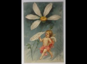 Engel, Amor, Blumen, Er liebt mich, 1903, Prägekarte ♥ (60933)