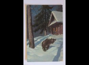 """""""Bär, Winterlandschaft, Haus"""" 1910 ♥"""
