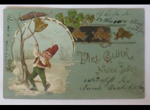 Neujahr, Zwerge, Glocken, Kleeblatt, Schein, 1901 ♥ (43115)