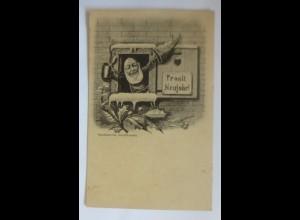 Neujahr, Zwerge, Bierkrug, Fenster, 1900,Handkolorirte Karte ♥ (42663)