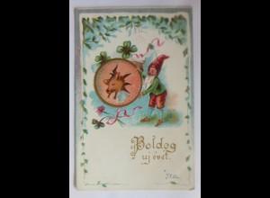 Neujahr, Zwerge, Leinwand, Schwein, Kleeblatt, 1902, Prägekarte ♥ (31586)