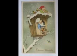 Neujahr, Zwerge, Flöte, Vogel, Vogelhaus, 1930 ♥ (26320)