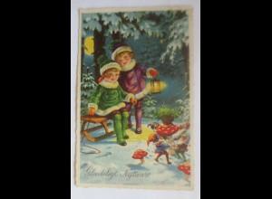 Neujahr, Zwerge, Kinder, Mode, Schlitten, Pilze, Laterne, 1948 ♥ (45008)