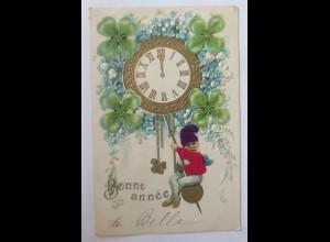 Neujahr, Zwerge, Uhr, Kleeblatt, Vergissmeinnicht, 1904, Prägekarte ♥ (64840)