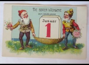 Neujahr, Zwerge, Kalender, Blumen, 1907 ♥ (56109)
