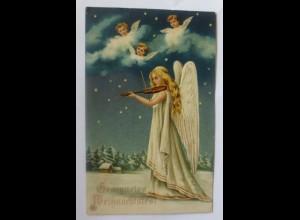 Weihnachten, Engel, Violine, 1910, Prägekarte ♥ (42640)