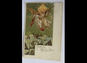 Weihnachten, Engel, Kreuz, Sterne, 1904 ♥ (24428)