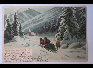 Weihnachten, Winterlandschaft, Pferde, Schlitten, 1902, Mailick ♥ (25611)