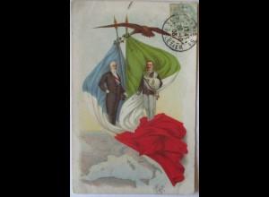Frankreich Italien, Fahnen Politik 1903 (66700)