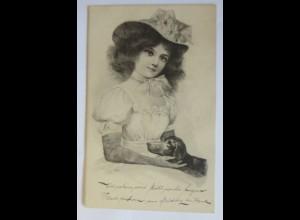 Frauen, Mode, Hutmode, Dackel, Hund, 1901 ♥ (28157)