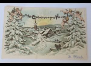 Neujahr, Engel, Tannen, Winterdorf, Sonnenschein, 1903, Ottmar Zieher ♥ (44849)