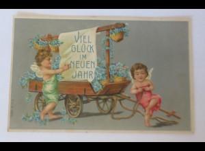 Neujahr, Engel, Wagen, Vergissmeinnicht, 1907, Prägekarte ♥ (67928)