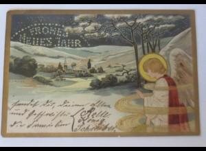 Neujahr, Engel, Christkind, Winterdorf, 1900, J. v. Kulas ♥ (23150)