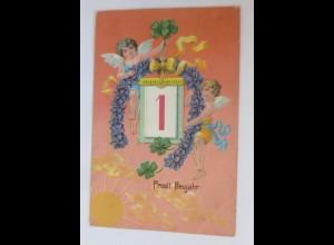 Neujahr, Engel, Kleeblatt, Kalender, Sonne, 1912, Prägekarte ♥ (66649)